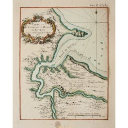 South America Kourou River French Guiana antique map by Bellin 1762