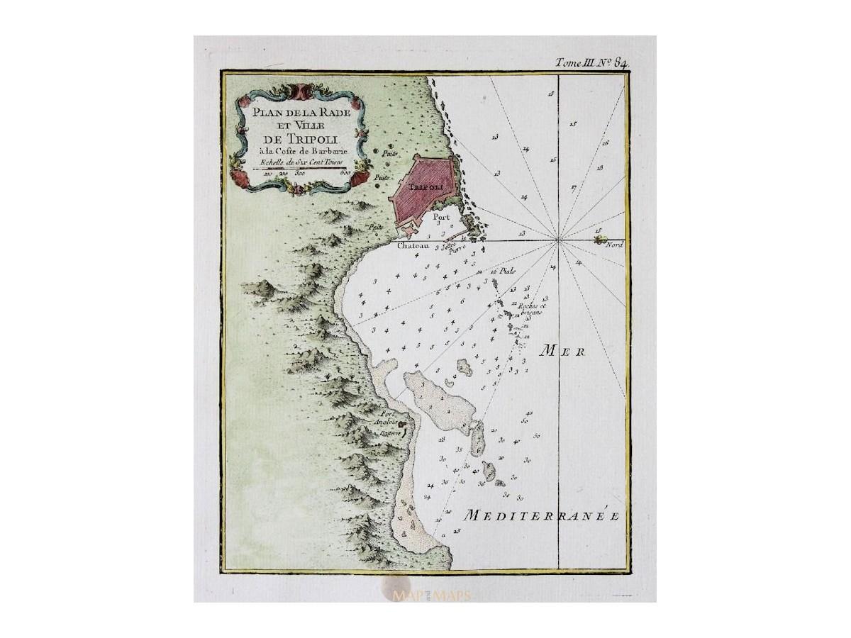 Picture of: Libya Tripoli Old Map Ville De Tripoli Barbarie Bellin Mapandmaps
