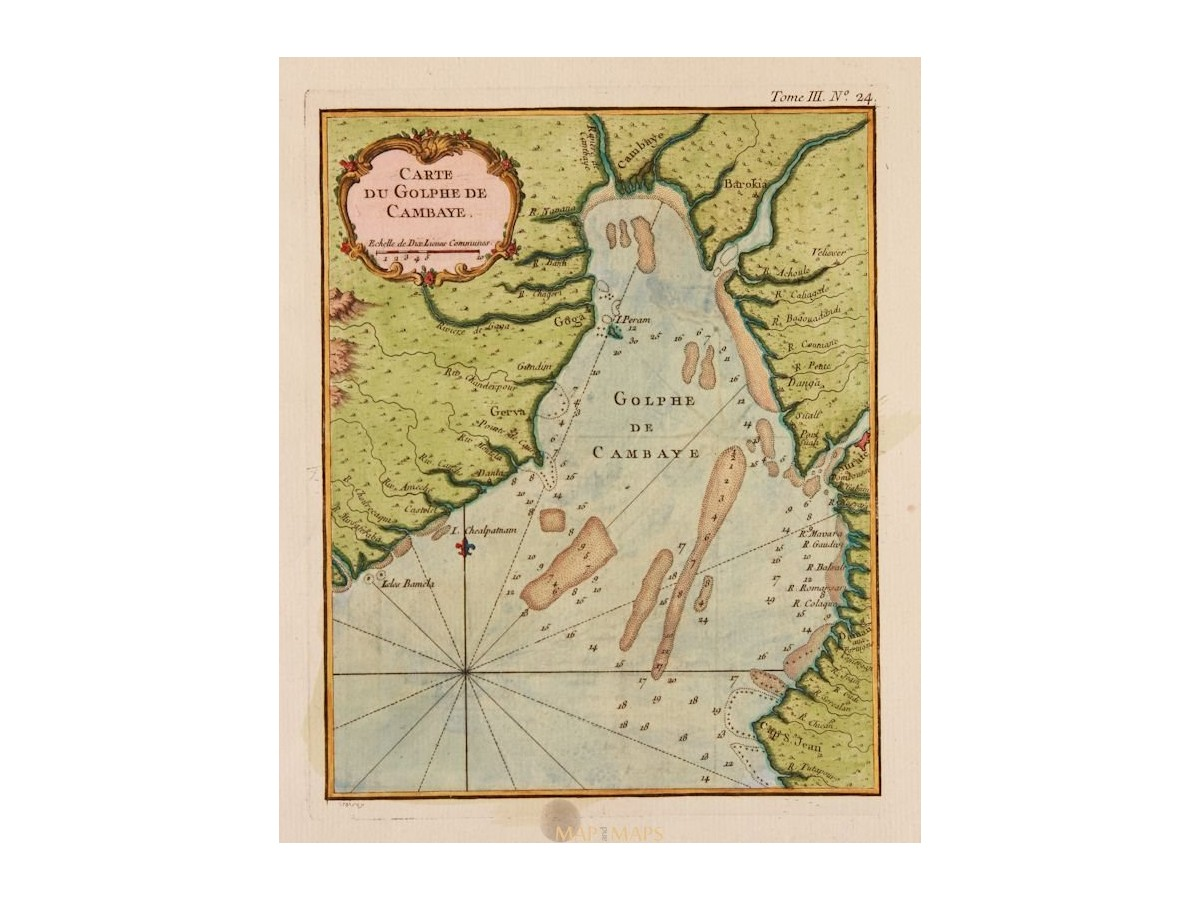 Gulf Of Cambay India Original Antique