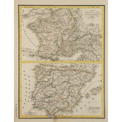 Ancient France and Spain, (Iberia) old map Heck 1842