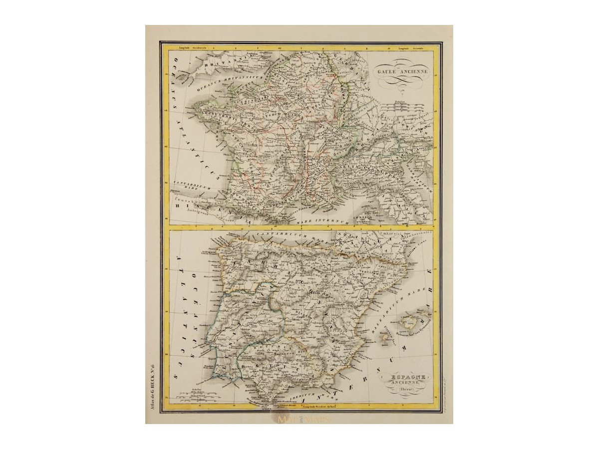 Ancient France With Spain Old Map Johann Georg Heck 1842 Mapandmaps