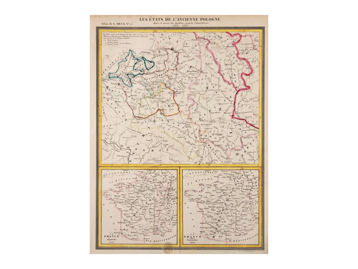 Old Map Poland L Ancienne Pologne Johann Georg Heck 1842 Mapandmaps