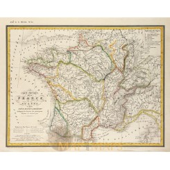 Physical map of France Switzerland old map Johann Heck 1842