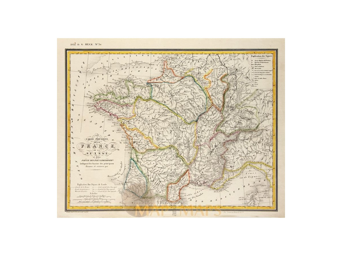 Map Of France Switzerland.Physical Map Of France Switzerland Old Map Johann Heck 1842