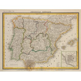 IBERIAN PENINSULA-PORTUGAL AND SPAIN-ANTIQUE MAP-HECK 1842