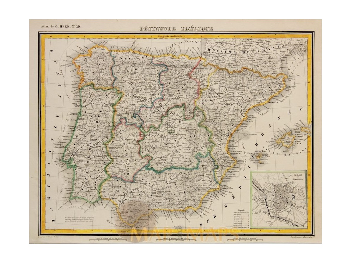Map Of Portugal And Spain.Spain Portugal Antique Map Johann Heck Mapandmaps Historic Maps