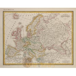 Europe map Carte physique et politique D' Europe by Heck 1842