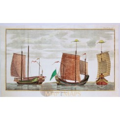 Chinese vessels print Vaisseaux Chinois Capt. Anson 1764
