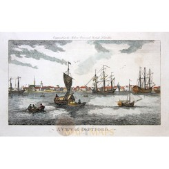 Fine antique print, A View of Deptford with sailing ships, by Harrison 1779