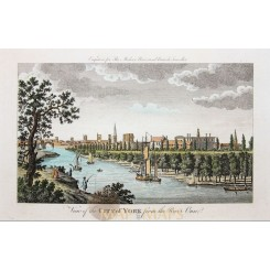 Fine antique print, View of the City of York from the river Ouse, by Harrison 1779