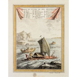 OLD PRINT, INDIANS OF SOUTH AMERICA, IN RAFT AND BOATS, COLTELLINI 1763