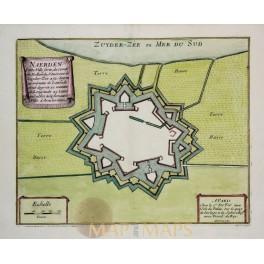 NAARDEN – NAERDEN, HOLLAND, OLD ENGRAVING, ANTIQUE PLAN DE FER 1696