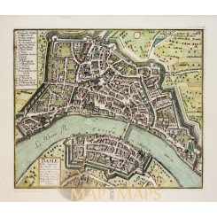 Bassel Switzerland antique town plan Basle by De Fer 1696