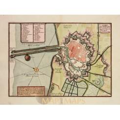 ANTIQUE PLAN, DUNKIRK, DUINKERKEN, FRANCE, OLD ENGRAVING, DE FER 1696