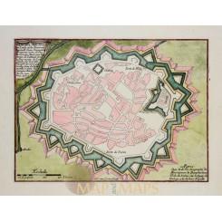VALENZA -VALENSA IN PIEDMONTESE, ITALY, ANTIQUE PLAN, OLD ENGRAVING, DE FER 1696