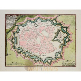 VALENZA -VALENSA IN PIEDMONTESE, ITALY, ANTIQUE PLAN, OLD ENGRAVING, DE FER 1696