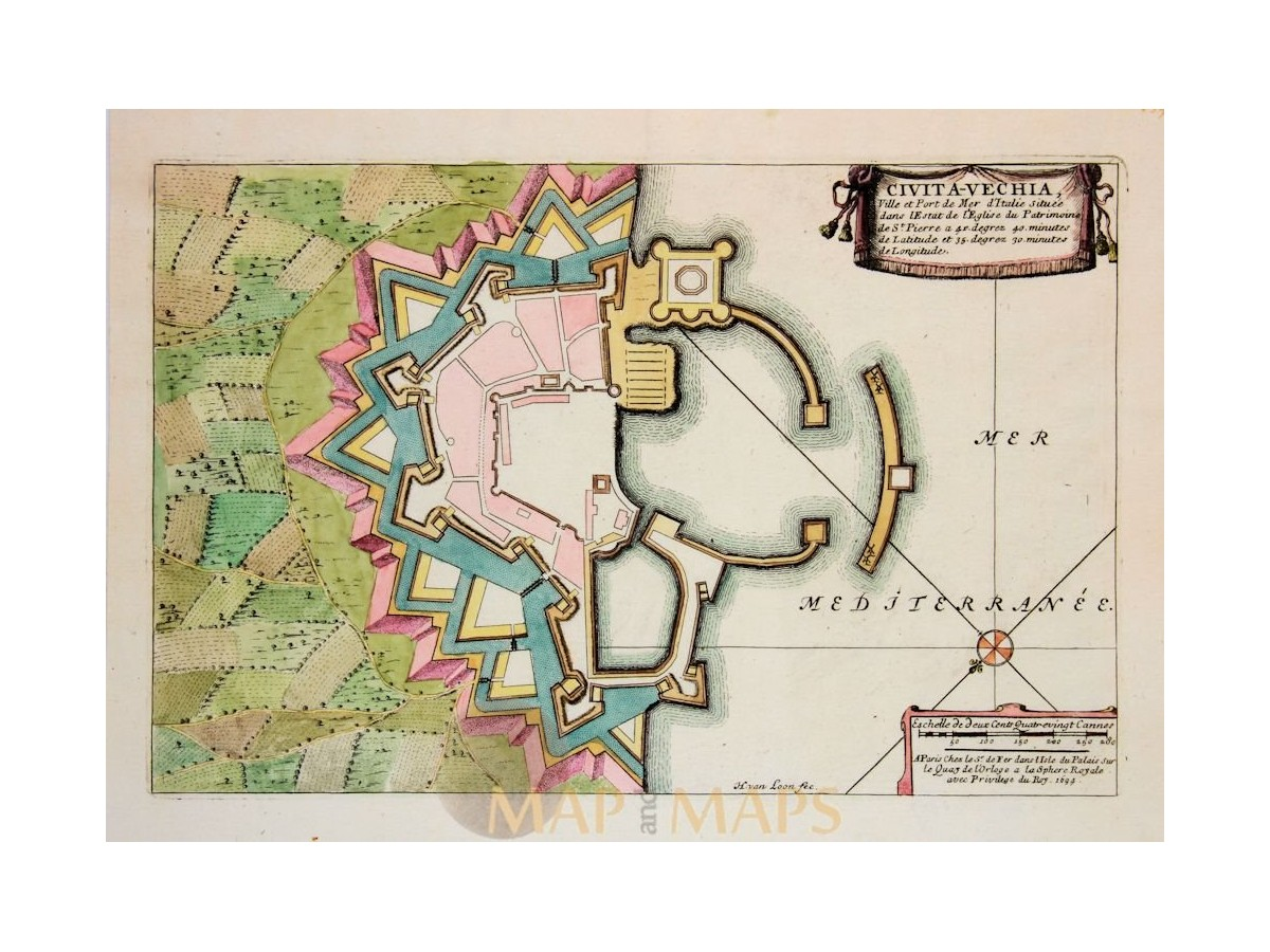 Port of Civitavecchia Italy Old Fortification plan De Fer 1696 Map Of Europe With Laude And Longitude on