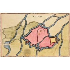 1661 antique Town plan La Fere France by Merian