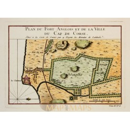 CAP CORSE, GHANA FORT ANGLOIS ANTIQUE PLAN BY NICOLAS DE FER 1697