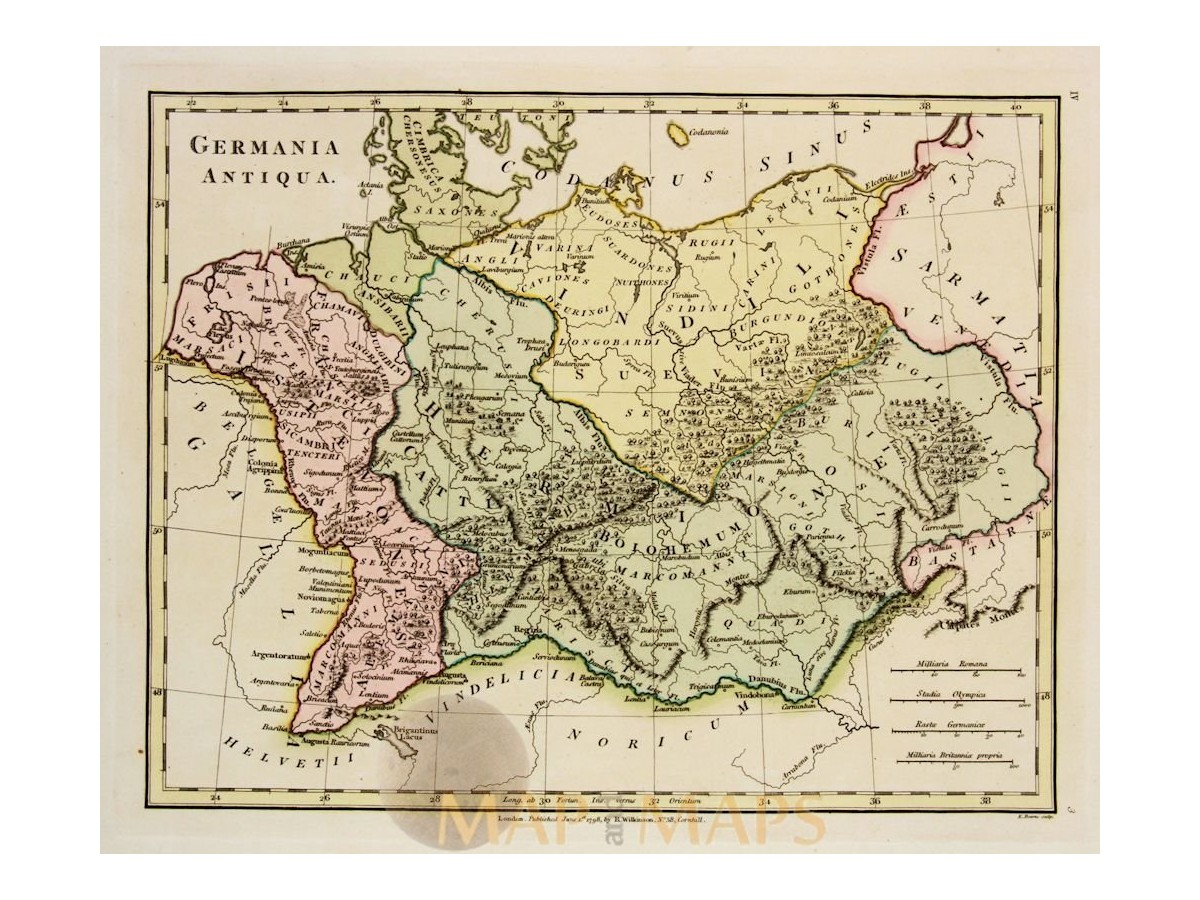 Map Of Germany And Holland.Germania Antiqua Antique Map Europe Wilkonson 1798