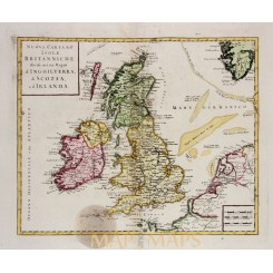 British Isles Antique map Isole Britanniche Albrizzi 1740