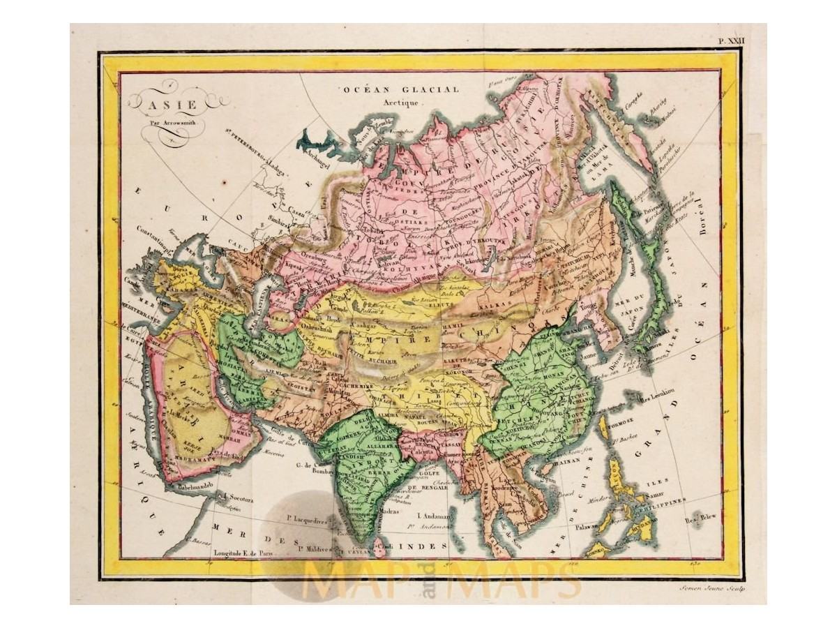 Asia Continent antique map led: Asie par Arrowsmith 1820 on large map of asia, google map of asia, political features of asia, pdf map of asia, physiographic map of asia, spanish map of asia, zoom map of asia, interactive map of asia,