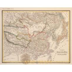CHINA JAPON EMPIRE ASIA THIBET MONGOLIA ORIGINAL ANTIQUE MAP G. HECK 1842