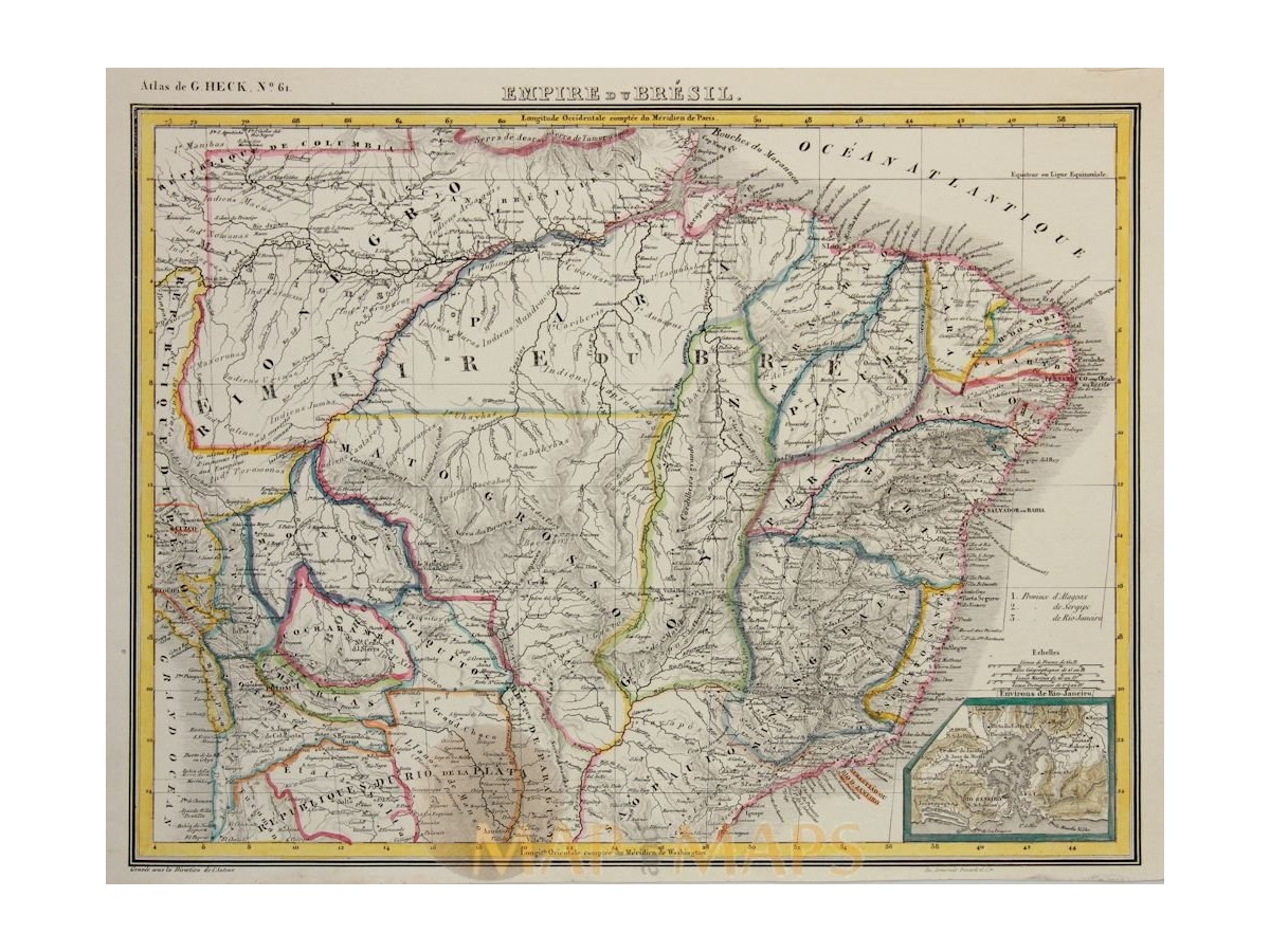 Brazil Empire Rio de Janeiro original historical old map Heck 1842 ...