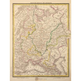 Russian Empire Europe Old map Russe en Europe Heck