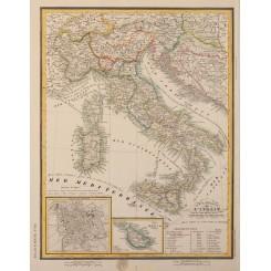 Italy Rome antique map Johann Georg Heck 1842
