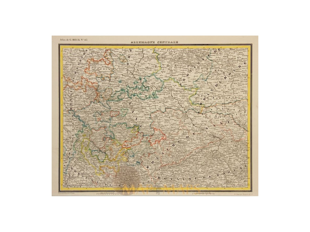 Map Of Central Germany.Central Germany Old Map Allemagne Centrale Heck 1842