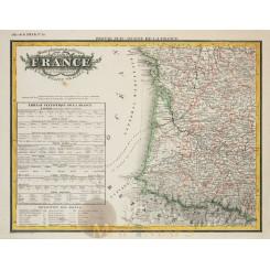 France map Physique et Politique de la France Heck 1842