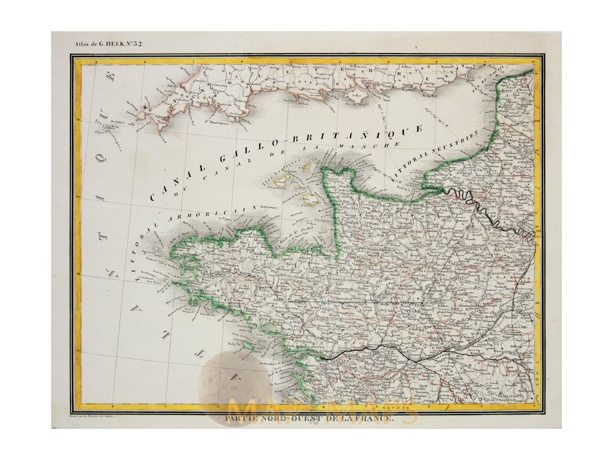Map Of North West France.Brittany Northwestern France Johann Heck Mapandmaps