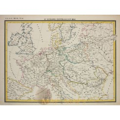 Water system and Orography of Europe antique old map Heck 1842