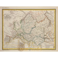 Europe old map hydrographic mountain system Heck 1842