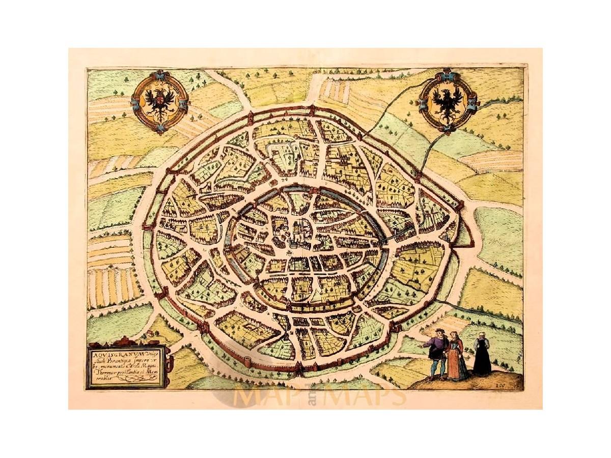 Aachen Germany Old Map Aquasgranum v. Deventer 1613