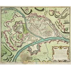 Namur Belgium antique map battle plan Namen Rapin 1743