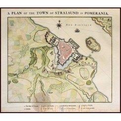 Stralsund antique town plan Germany by v.d. Schley 1760