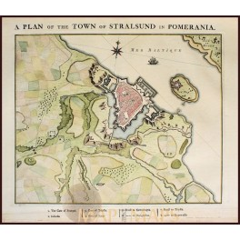 STRALSUND IN POMERANIA Old plan Stralsund Prussia Germany by v.d. Schley 1760