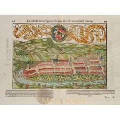 La ville de Berne Old map Switzerland Sebastian Munster 1556