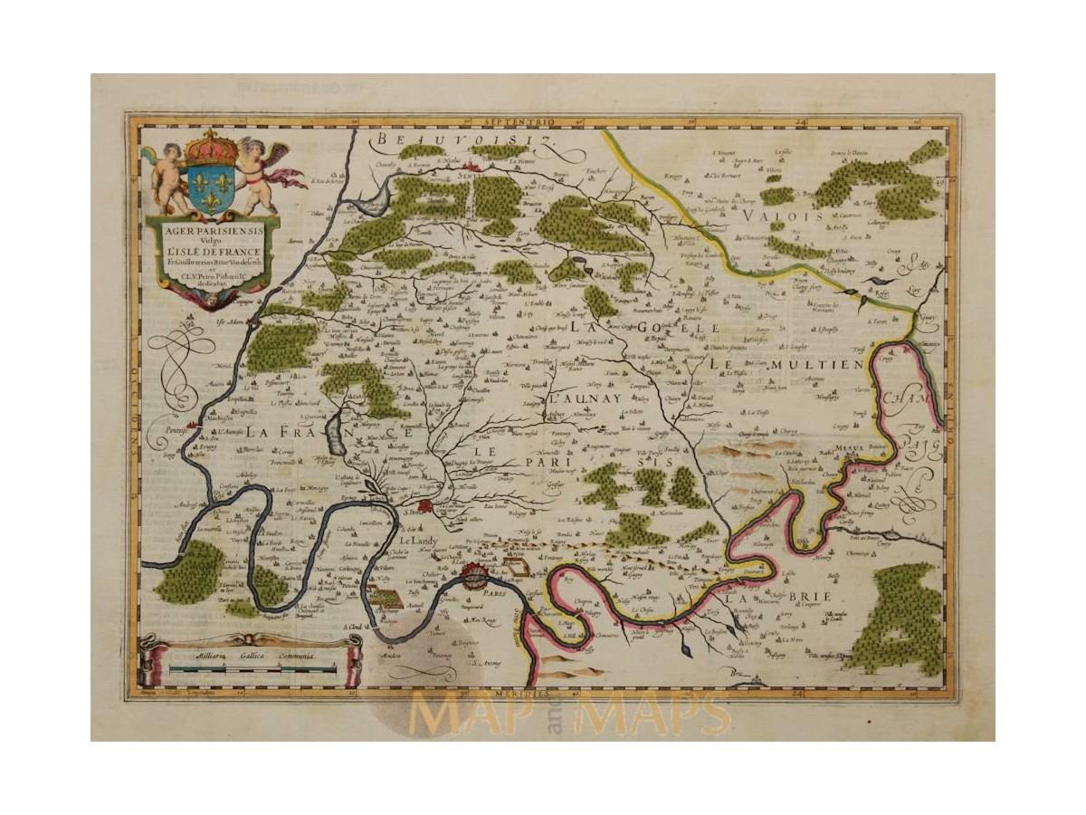 France Paris Old Map Ager Parisiensis Vulgo Joan Blaeu 1642