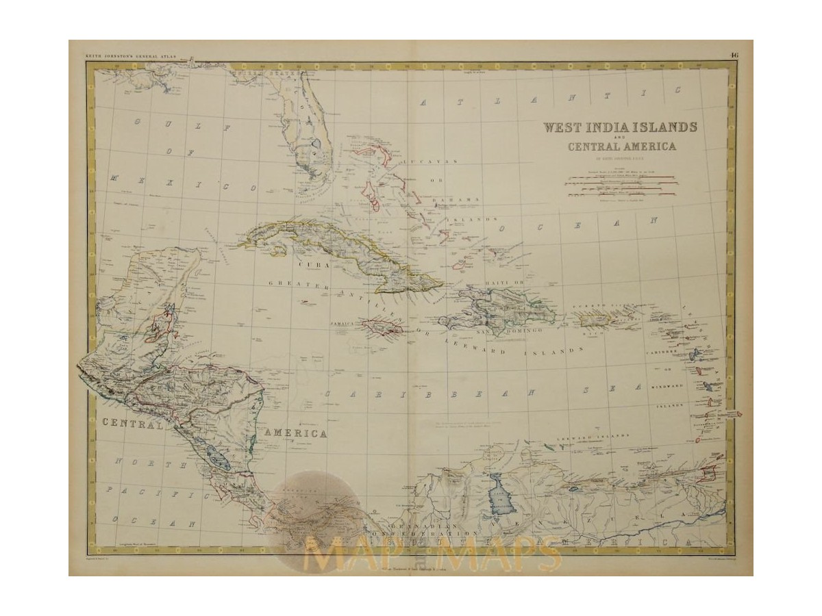 West India Islands and Central America map Johnston 1865.
