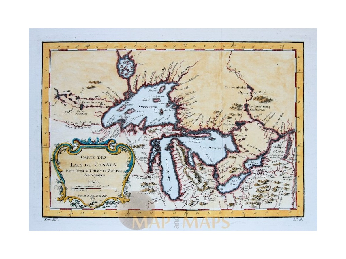 Lakes Of Canada Map.Details About Canada Map Carte Des Lacs Du Canada Great Lakes By Bellin 1757