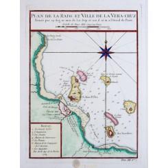 Ville de la Vera-Cruz antique map Mexico City Bellin 1754