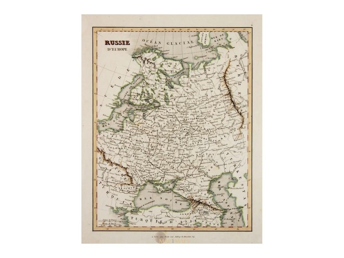 Europe Russia antique map Russie D\'Europe Binet 1838 ...