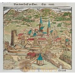 Chur Graubünden antique woodcut Switzerland Munster 1578