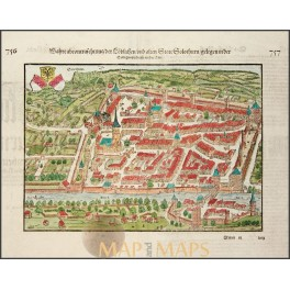 SOLOTHURN SWITZERLAND antique woodcut Switzerland by Senbastian Münster 1570