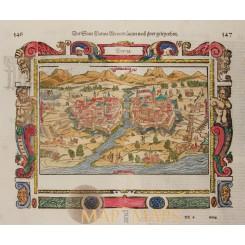 Der Statt Parma, Old map of Italy Sebastian Münster 1550