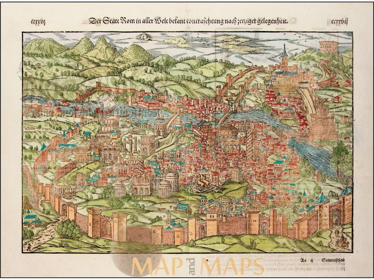 Der Statt Rom in alten Welt. Rome Italy Sebastian Münster 1578