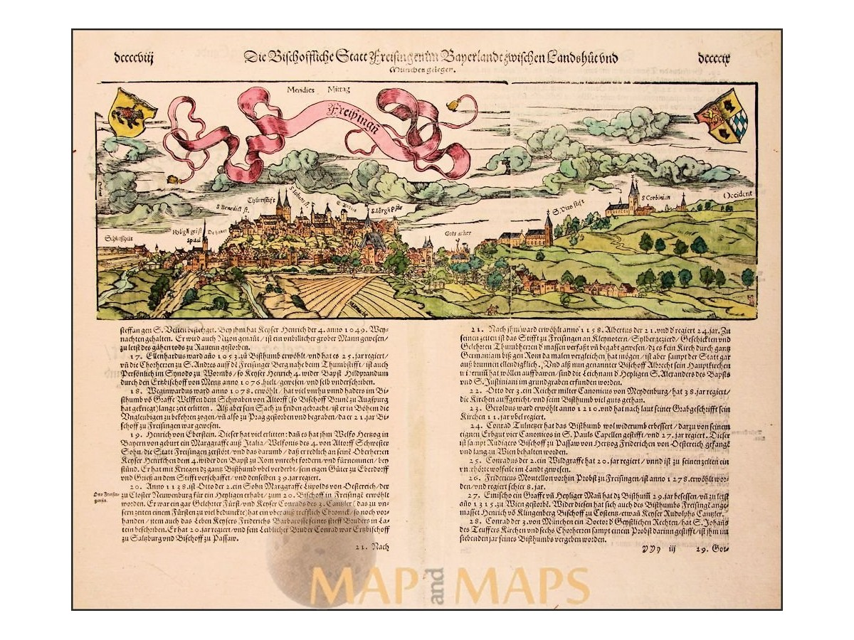 Freising Germany Map.Freising Antique Woodcut Germany Sebastian Munster Mapandmaps
